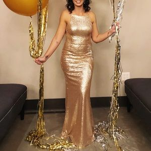 Lulus Champagne Sequin Dress